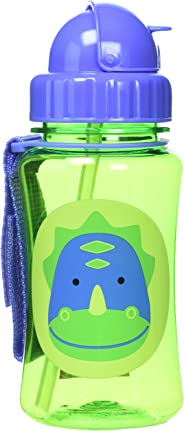 Skip Hop Baby Zoo Little Kid and Toddler Feeding Travel-To-Go Flip Top Straw Bottle, 12 oz, Multi Dakota Dinosaur