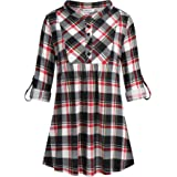 Helloacc Womens Mandarin Neck 3/4 Roll Sleeve Plaid Shirt Button Down Tunic Tops