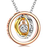 QIANSE Sun of Life, Necklaces Gifts, Three Rings Design Pendant with Engraving Necklace, Swarovski Crystals Jewelry, Christma