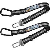 Kurgo 2 Pack Direct to Seatbelt Tether for Dogs. Universal Car Seat Belt for Pets, Adjustable Dog Safety Belt, Carabiner Clip
