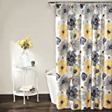 Lush Decor Leah Shower Curtain, 72 Inches X 72 Inches, Yellow/Gray