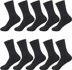 Hsiitosa 靴下 メンズ ビジネスソックス 銀イオン 抗菌防臭 通気性抜群 10足/5足セット 24-28㎝ 黒
