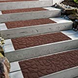 """Comme Rug Stair Treads with Rubber Backing,Non-Slip,Indoor Outdoor Step treads Waterhog,Set of 6,Brown,8.5"""" x 30"""""""