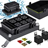 12V Auto Waterproof Fuse Relay Box Block Kit [6 Bosch Style Relay Holder] [6 ATC/ATO Fuse Holder] [Relays & Fuses Included] U