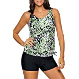 Diukia Women Printed Blouson Tankini Tops with Boyshort Set Two Piece Swimsuits