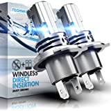TECHMAX H4 LED Headlight Bulb,Windless Direct Insertion 50W 6500K Xenon White CREE Chips 9003 Hi Lo of 2