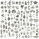 Wholesale Bulk Lots Jewelry Making Silver Charms Mixed Smooth Tibetan Silver Metal Charms Pendants DIY for Necklace Bracelet