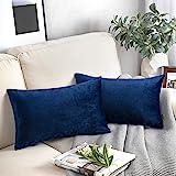 "Phantoscope Decorative Set of 2 Soft Velvet Series Navy Blue Throw Pillow Case Cushion Cover 12"" x 20"" 30 x 50 cm"