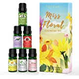 ASAKUKI Floral Essential Oil Set, Top 6 Natural 100% Pure Aromatherapy Oils for Oil Diffusers, Jasmine, Ylang Ylang, Gardenia