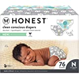 The Honest Company - Club Box, Clean Conscious Diapers, Above It All + Pandas, Size 0 NB, 76 Count (Packaging May Vary), Abov