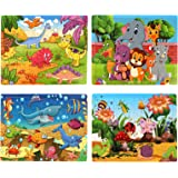 SYNARRY Wooden Jigsaw Puzzles for Kids Age 3-5 Year Old, 4 Pack 24-40 Pieces Preschool Educational Learning Toys Gift Set for
