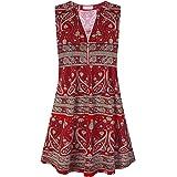 Bulotus Women's Sleeveless Front Zip V Neck Summer Casual Dress