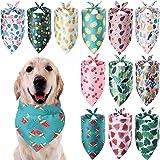 Weewooday 12 Pieces Dog Bandana Scarf Washable Triangular Bibs Pet Summer Flamingo Fruit Print Adjustable Washable Kerchief H