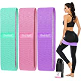 ihuan Resistance Bands for Legs and Butt, 3 Levels Exercise Band, Anti-Slip & Roll Elastic Workout Booty Bands for Women Squa