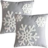 "E.life Soft Square Style Cotton Throw Pillow Case Cushion Cover Decorative 18x18"" (1 Pair, Gray)"