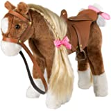 Stuffed Animal Horse Pretty Plush Toy Pretend Play Horse 11 inches Brown by HollyHOME