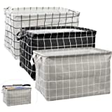 2Pcs Large Rectangular Canvas Storage Basket, Foldable Toy Organizer Bins with Handles, Waterproof Clothes Storage Box for Nu