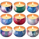 Scented Candles Gift Set,9 x 2.2 Oz Natural Soy Wax Candles Gifts for Women,9 Essential Oil Fragrances,Aromatherapy for Stres