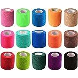 "KISEER 15 Pack 2"" x 5 Yards Self Adhesive Bandage Assorted Color Breathable Cohesive Bandage Wrap Rolls Elastic Self-Adherent"