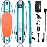 Roc Inflatable Stand Up Paddle Boards W Free Premium SUP Accessories & Backpack, Non-Slip Deck Bonus Waterproof Bag, Leash, P