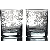 Greenline Goods Whiskey Glasses - 10 Oz Tumbler Gift Set for Boston Lovers, Etched with Boston Map   Old Fashioned Rocks Glas
