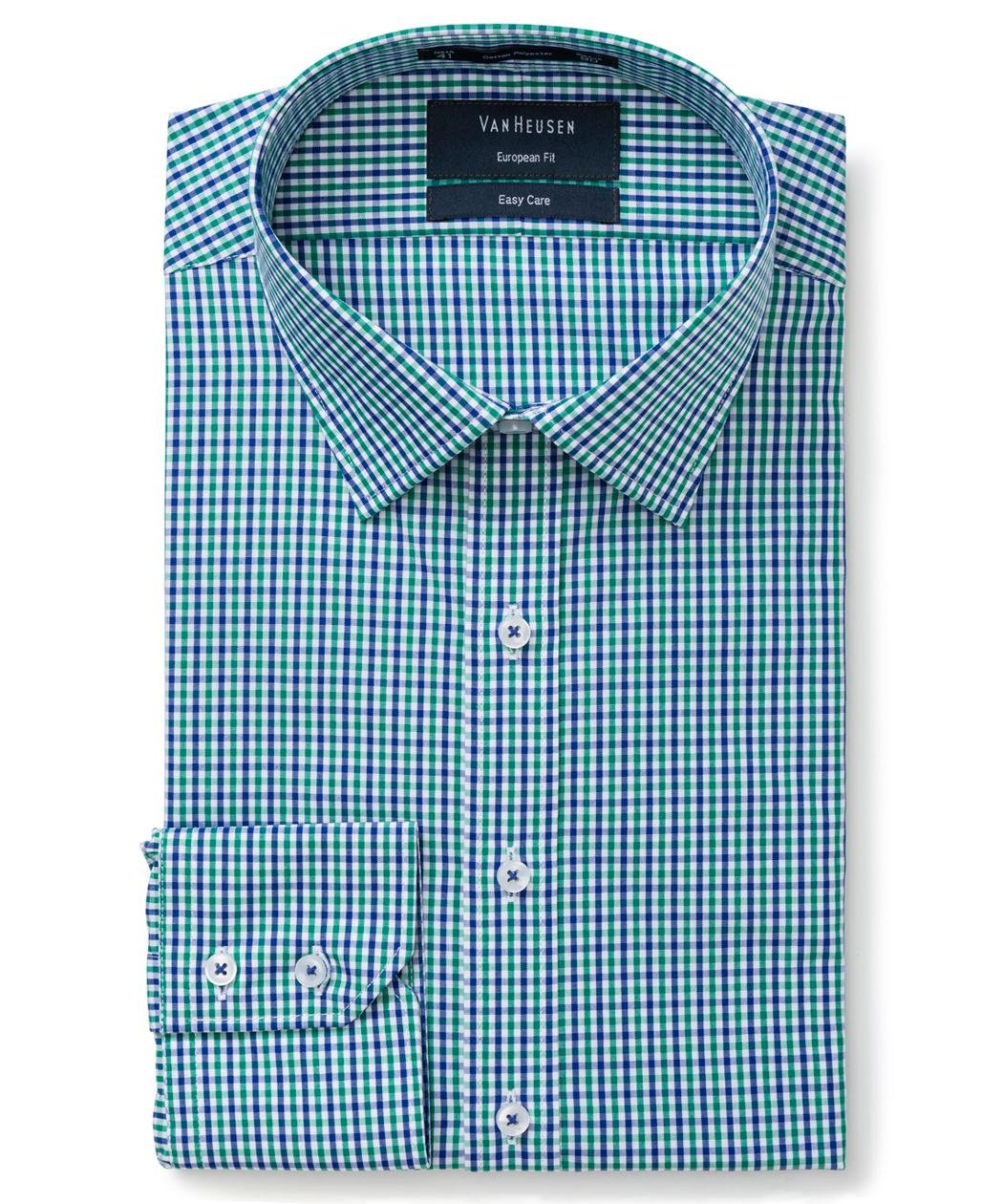 Van Heusen Men's Euro-Tailored Fit Mini Check Business Shirt