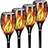 Otdair Solar Lights Outdoor Waterproof Dancing Flickering Flame Torch Lights Solar Spotlights Landscape Decoration Lighting D