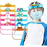 10PCS Kids' PET Reusable Clear Protective Safety Face Shields Assorted Designs for Boys & Girls, Lightweight High Transparenc