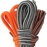 (3 PACK PAIRS) DailyShoes Round Hiking Shoelaces, Strong Durable, Fugacious Gambol