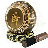 Soundance 5'' Tibetan Singing Bowl Set for Meditation Yoga Chakra Healing Relaxation Mindfulness Heart Peace, Handcrafted Met
