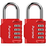 Puroma Puroma 2 Pack Combination Lock 4 Digit Padlock for School Gym, Sports Locker, Fence, Toolbox, Case, Hasp Storage (Red)