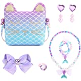 mibasies Purse for Little Girls Dress Up Jewelry Pretend Play Kids Accessories Mermaid Gift