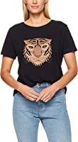 French Connection Women's Tiger FACE TEE, Black/Multi