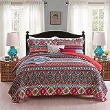 Y-PLWOMEN Cotton Boho Multicolor Bedspread Set - Reversible & Decorative Rustic Southwestern Tribal Stripe Geometric Style Al