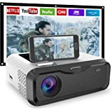 """【2020 New】 JIEGAO Portable Projector for AU- Play Netflix - Wireless Mini Projector Support HD 1080P and 220"""" Display, Compat"""