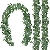 CEWORs 3 Pack Artificial Eucalyptus Garlandwith Willow Leaves Hanging Greenery Garland for Wedding Indoor OutdoorDecoration