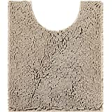 Smiry Chenille U-Shaped Toilet Bathroom Rugs, Soft Absorbent Non-Slip Contoured Rugs, Machine Washable Contour Bath Mats for