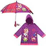 Shopkins Little Girls Character Slicker and Umbrella Rainwear Set, Age 2-7