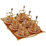(Set of 6) Turkish Tea Glasses Set with Saucers Holders Spoons & TRAY, Decorated with Swarovski Type Crystals and Pearl,25 Pc