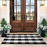 KaHouen Cotton Buffalo Plaid Check Rug 27.5 x 43 Inches, Buffalo Check Outdoor Rug, Checkered Plaid Rug for Porch, Kitchen,Ba