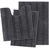 IM Home Extra Soft Grey Bathroom Rugs and Mats Set 3 Pieces Gray, Thick Chenille Bath Rugs Non Slip, Absorbent Plush Shaggy B