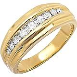 0.50 Carat (ctw) 14K Yellow Gold Round Diamond Channel Mens Ring