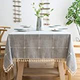 """Oubonun Rustic Lattice Tablecloth Cotton Linen Grey Rectangle Table Cloths for Kitchen Dining, 55""""x86"""""""