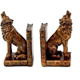 Bellaa 26362 Howling Wolf Bookends Set of 2 Wolves Books CD DVD Holder