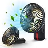 KLOUDIC 扇風機 5500mAh 強力 超クール 携帯扇風機 卓上扇風機 手持ち扇風機 USB充電式 小型 静音 LED照明機能付き 32h長時間連続使用 風速3段階調節 180度角度調整 バッテリー内蔵 オフィス キャンプ ブラック …