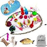 AILUKI 26PCS Cat Toys Kitten Toys Assortments, Variety Catnip Toy Set Including 2 Way Tunnel,Cat Feather Teaser,Catnip Fish,M