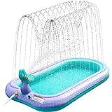 Sprinkler & Splash Pad for Kids, Large Outdoor Sprinklers Play Mat Water Play Toys Inflatable Mermaid Sprinkler Pad, Fun Play