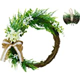 Abloomtouch Wreaths for Front Door - 16,5 inch Realistic White Hydrangea Artificial Summer Spring Wreaths for Front Door - Gr