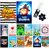 Yileqi Seasonal Garden Flags Set of 12 Double Sided Winter Valentines Day Garden Flag Holidays Yard Flags, with Zipper Storag