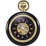 TREEWETO 機械式 手巻き 懐中時計 木製 ウッド アンティーク スケルトン ローマ数字 ブラック チェーン付き